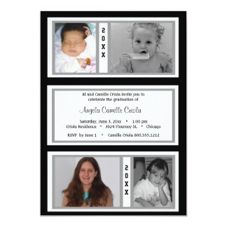 Black and Silver Quad Photo Graduation Party 13 Cm X 18 Cm Invitation Card