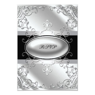 Black and Silver RSVP Card