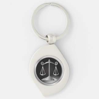 Black and Silver Scales of Justice | Law Silver-Colored Swirl Key Ring