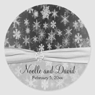Black and Silver Snowflakes Wedding Sticker
