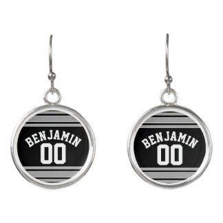 Black and Silver Sports Jersey Custom Name Number Earrings