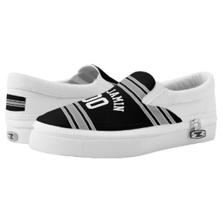 Black and Silver Sports Jersey Custom Name Number Slip On Shoes