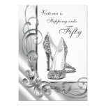 Black and Silver Stepping Into 50 Birthday Party 13 Cm X 18 Cm Invitation Card