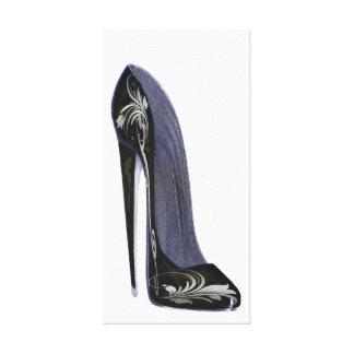 Black and Silver Stiletto shoe art Canvas Print