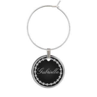 Black and Silver Trim with Diamonds | Personalize Wine Glass Charms