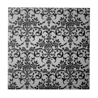 Black and Silvery White Floral Damask Pattern Ceramic Tile
