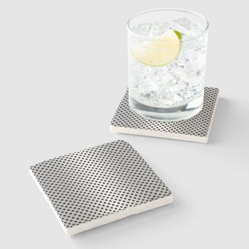 Black and Silvery White Polka Dot Pattern Stone Beverage Coaster