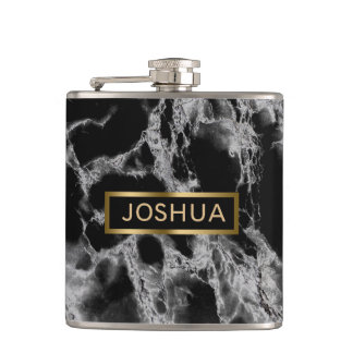 Black And Smoke Gray Marble Stone Hip Flask