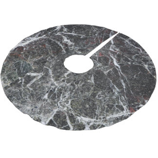 Black And Smoke Gray Marble Texture Brushed Polyester Tree Skirt