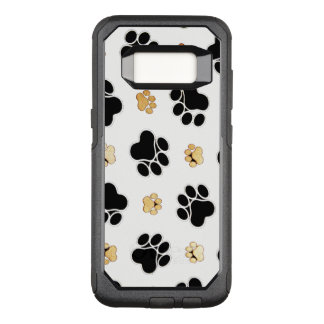 Black and tan canine dog paw print white OtterBox commuter samsung galaxy s8 case