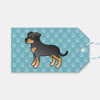 Black And Tan Cartoon Rottweiler Dog Gift Tags