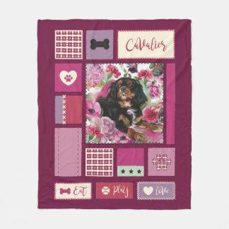Black and tan Cavalier blanket | Medium | Mauve