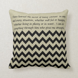 Black and Tan Chevron Secret Christian Pillow