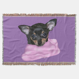 Black and Tan Chihuahua Puppy Throw Blanket