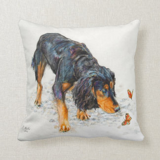Black and tan Cocker Spaniel with Butterflies Cushion
