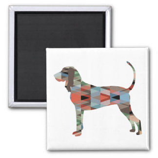 Black and Tan Coonhound Colorful Silhouette Magnet