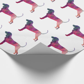 Black and Tan Coonhound Colorful Silhouette Wrapping Paper