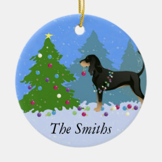 Black and Tan Coonhound Decorating Christmas Tree Ceramic Ornament