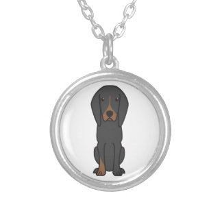 Black and Tan Coonhound Dog Cartoon Round Pendant Necklace