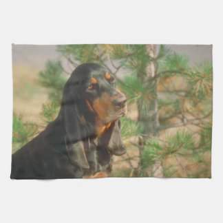 Black and Tan Coonhound Dog Kitchen Towel