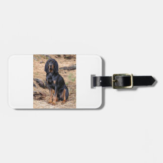 Black and Tan Coonhound Dog Luggage Tag