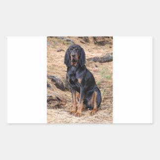 Black and Tan Coonhound Dog Rectangular Sticker