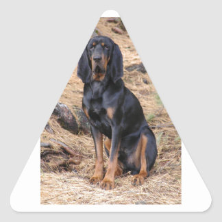 Black and Tan Coonhound Dog Triangle Sticker