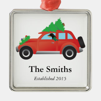 Black and Tan Coonhound Driving a Christmas Car Silver-Colored Square Decoration