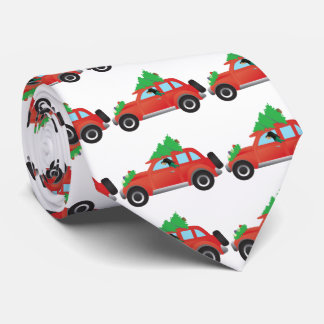 Black and Tan Coonhound Driving a Christmas Car Tie