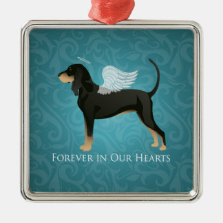 Black and Tan Coonhound Pet Dog Memorial Angel Metal Ornament