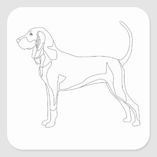 Black and Tan Coonhound Ready to Color Design Square Sticker