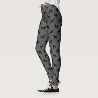 Black and Tan Coonhound Silhouettes Pattern Leggings