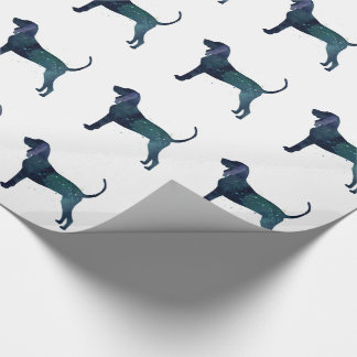 Black and Tan Coonhound Watercolor Silhouette Wrapping Paper
