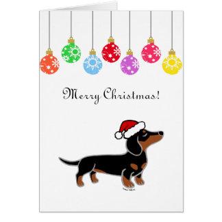 Black and Tan Dachshund Christmas Posing Card