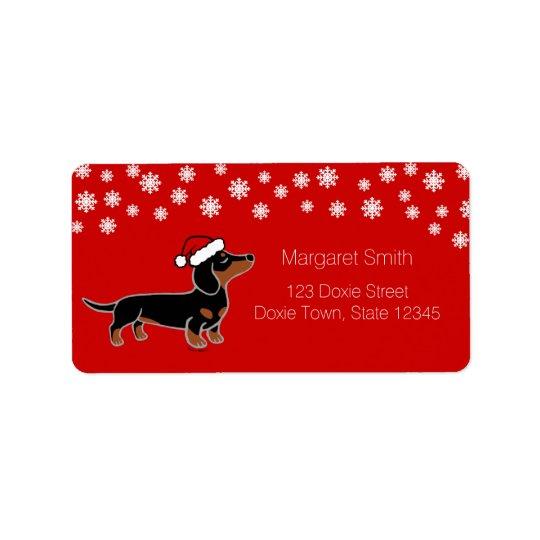 Black and Tan Dachshund Christmas Posing Labels