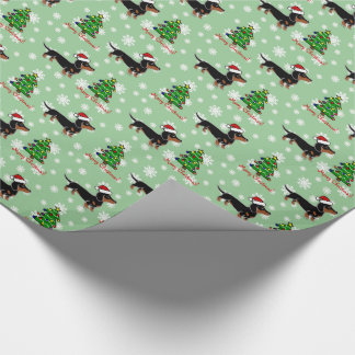 Black and Tan Dachshund Christmas Posing Wrapping Paper