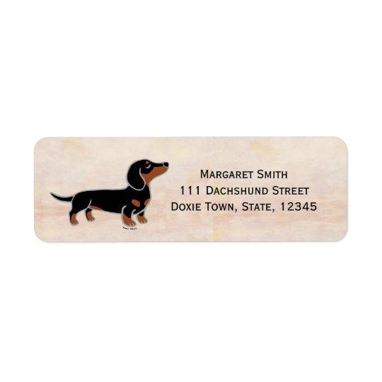Black and Tan Dachshund Posing Return Address Label