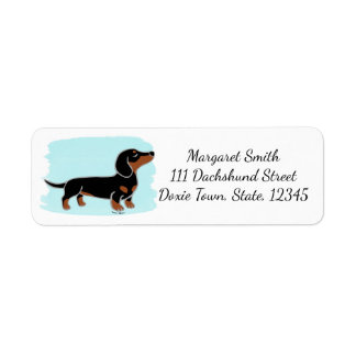 Black and Tan Dachshund Posing Watercolor Return Address Label