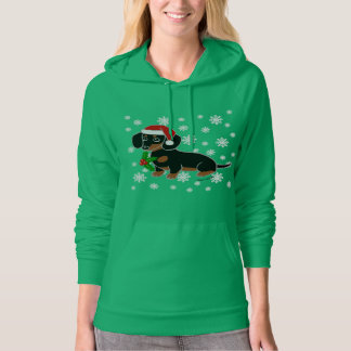 Black and Tan Dachshund Santa Hoodie