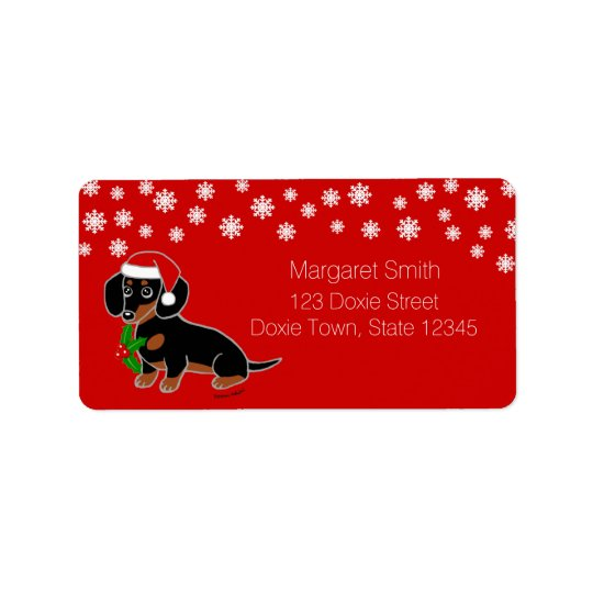 Black and Tan Dachshund Santa Labels