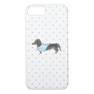 Black and Tan Dachshund - Watercolor & Polka Dots iPhone 8/7 Case