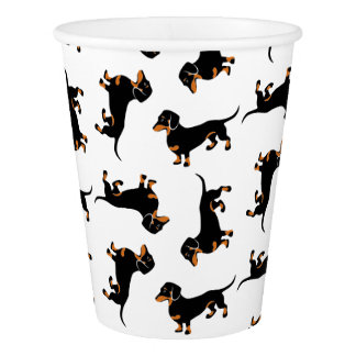 Black and Tan Dachshunds Cute Doxies Paper Cup