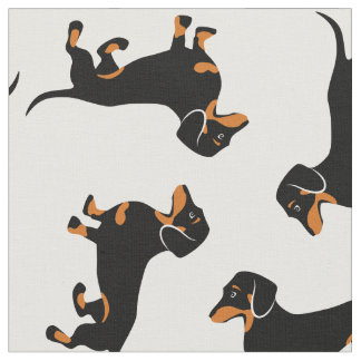 Black and Tan Dachshunds Fabric