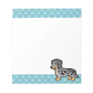 Black And Tan Dapple Long Coat Dachshund Dog Notepad
