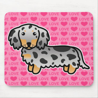 Black And Tan Dapple Long Coat Dachshund On Pink Mouse Pad