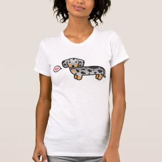 Black And Tan Dapple Smooth Coat Dachshund & Heart T-Shirt