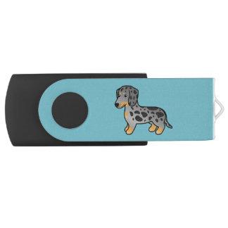 Black And Tan Dapple Smooth Coat Dachshund Swivel USB 2.0 Flash Drive