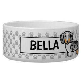 Black And Tan Double Dapple Smooth Coat Dachshund Pet Food Bowls