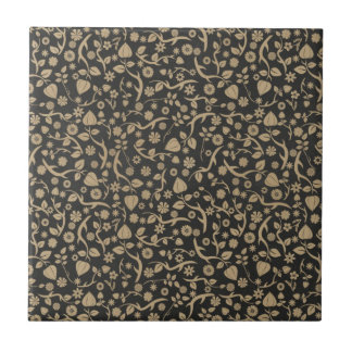 Black and Tan Flower Pattern Tiles