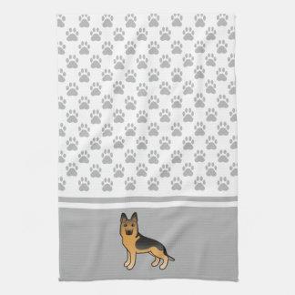 Black And Tan German Shepherd With Paws Pattern Tea Towel